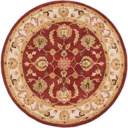 Decor 140 Marisya Damask Round Area Rug, One Size , Red