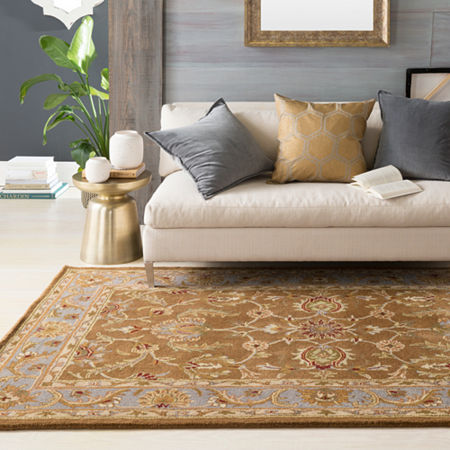 Decor 140 Marisya Damask Round Area Rug, One Size , Brown