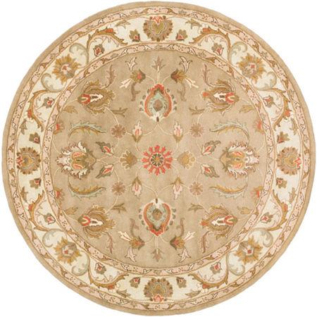 Decor 140 Marisya Damask Round Area Rug, One Size , Green