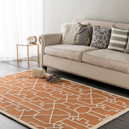 Larousse Geometric Area Rug, One Size , Orange at RugsBySize.com