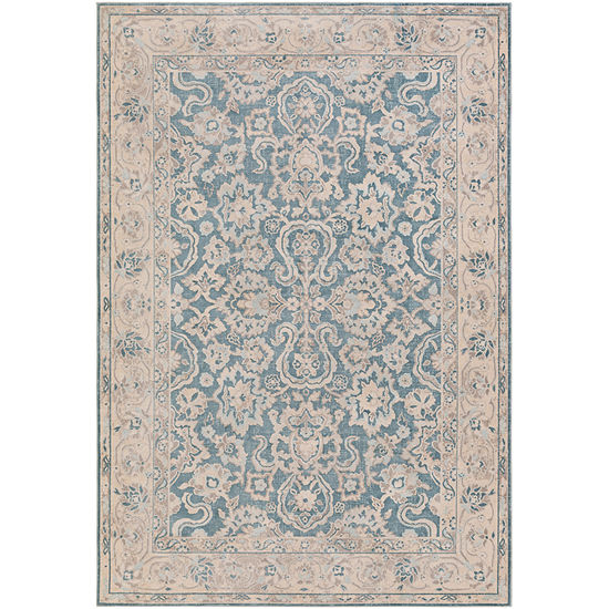 Miro Blue Damask Area Rug