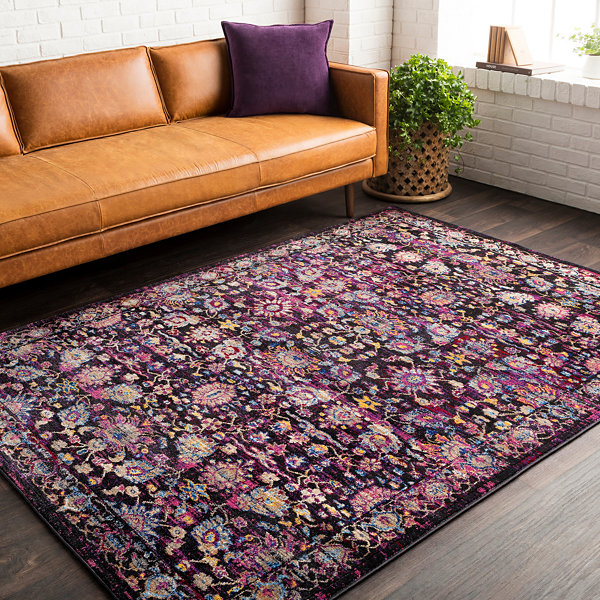 Xl Purple Rug: Miron Purple Damask Area Rug