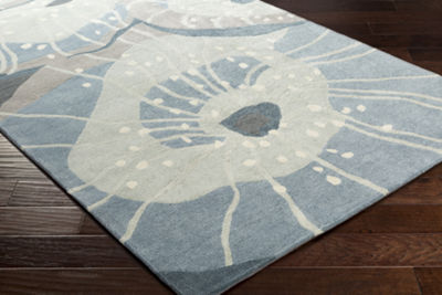 Moultrie Blue-Green Floral Area Rug