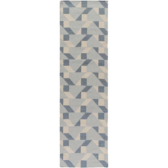 Saige Gray-Blue Geometric Area Rug