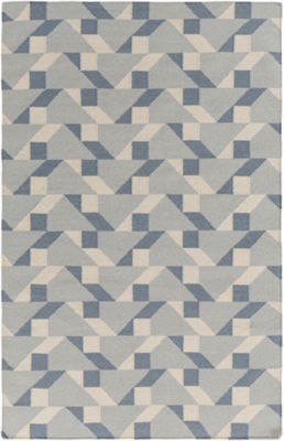 Saige Gray-Blue Geometric Area Rug