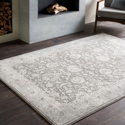 Painton Gray Damask Area Rug