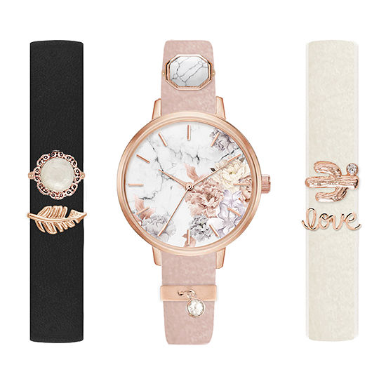 Mixit Interchangeable Charm Womens Multicolor 9-pc. Watch Boxed Set-Jcp6291rg82a-078