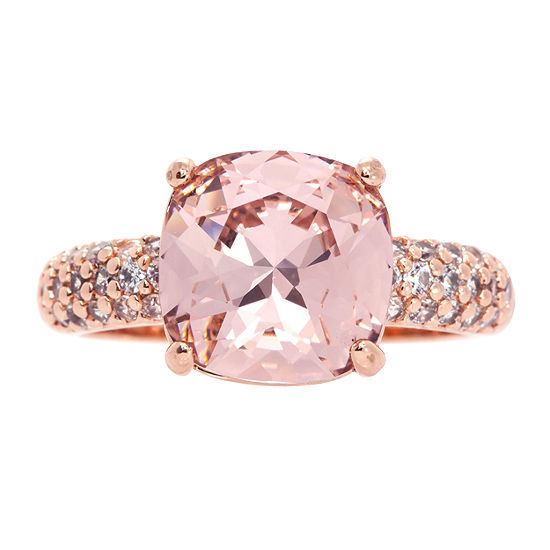 City Rocks Made With Swarovski Elements Womens 3/4 CT. T.W. Pink 14k Rose Gold Over Brass Cocktail Ring
