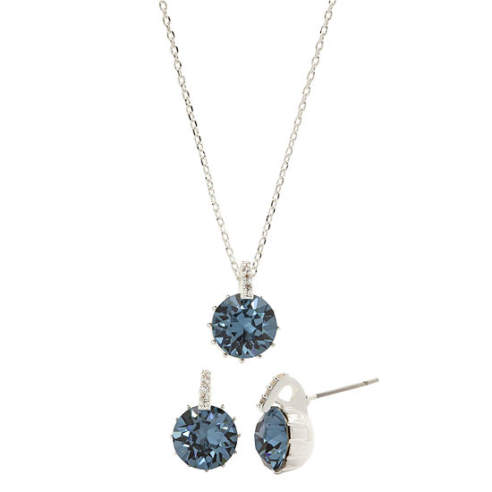 Sparkle Allure City Rocks -Swarovski - Made With Swarovski Elements 1/10 CT. T.W. Blue Silver Tone Pure Silver Over Brass 3-pc. Jewelry Set