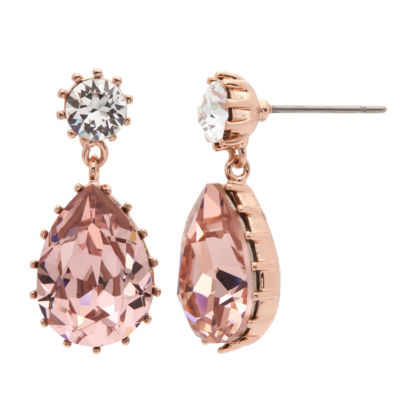 City Rocks Made With Swarovski Crystals Pink 14k Rose Gold Over Brass Drop Earrings