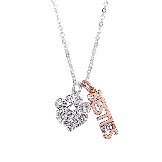 Sparkle Allure Besties Crystal Pawprint Necklace Crystal Pure Silver Over Brass 18 Inch Cable Pendant Necklace
