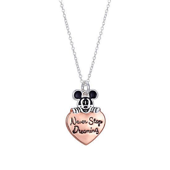 Disney Mickey Mouse Never Stop Dreaming Pure Silver Over Brass Pendant Necklace