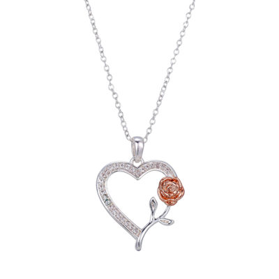 Disney Heart Flower Womens Clear Crystal Pure Silver Over Brass Beauty and the Beast Pendant Necklace