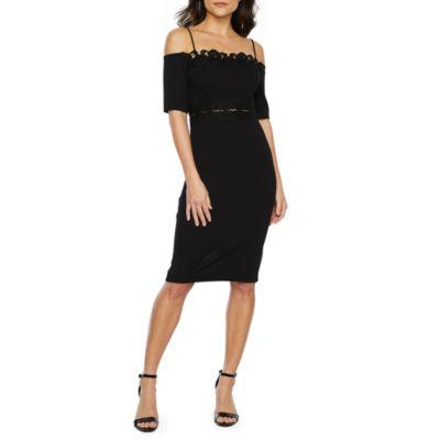 Premier Amour Short Sleeve Cold Shoulder Sheath Dress