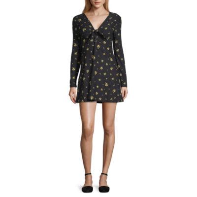 Arizona Long Sleeve Floral Fit & Flare Dress-Juniors
