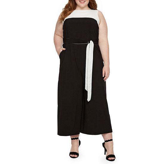 Danny Nicole Sleeveless Belted Jumpsuit Plus