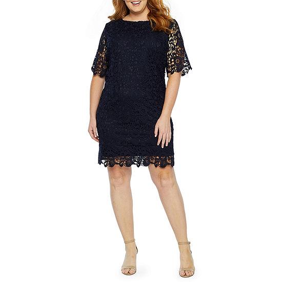 Studio 1 3/4 Sleeve Lace Sheath Dress-Plus