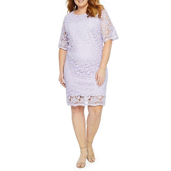 Studio 1 Short Sleeve Sheath Lace Dress Plus