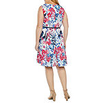 Danny & Nicole 3/4 Bell Sleeve Belted Floral Jacket Dress-Plus