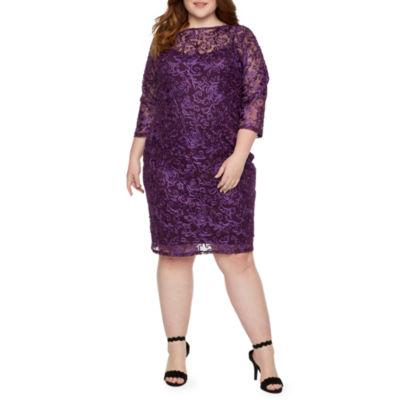 Blu Sage 3/4 Sleeve Applique Sheath Dress-Plus