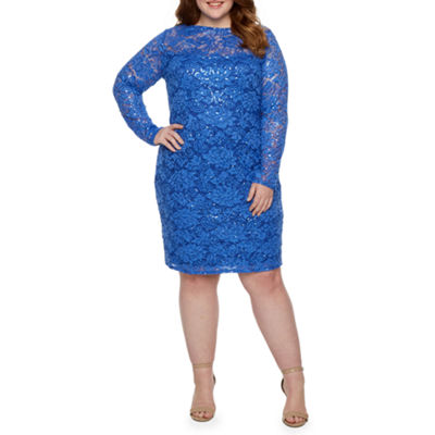 Blu Sage Long Sleeve Sheath Dress-Plus