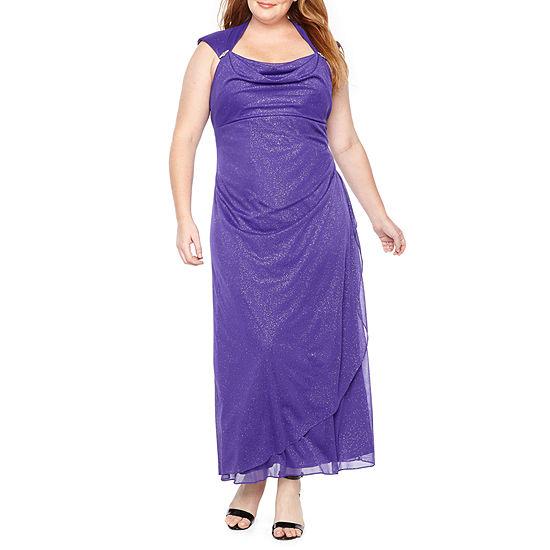 Scarlett Cap Sleeve Drape Front Gown - Plus