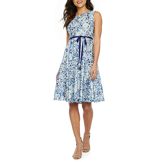 Danny & Nicole Sleeveless Floral Lace Fit & Flare Dress-Petite
