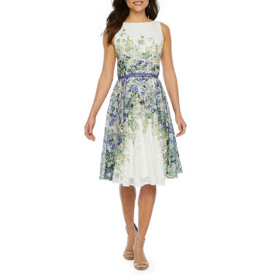 Danny & Nicole Sleeveless Floral Lace Belted Fit & Flare Dress-Petite