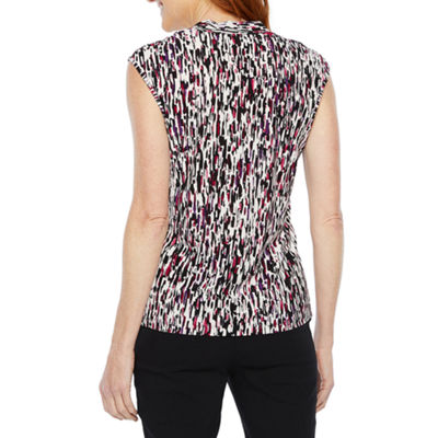 Black Label by Evan-Picone Womens Square Neck Sleeveless Blouse