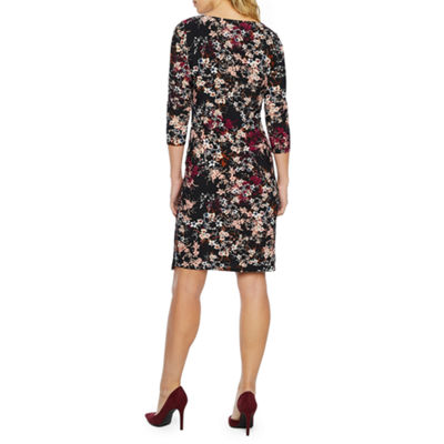 Black Label by Evan-Picone 3/4 Sleeve Floral Sheath Dress