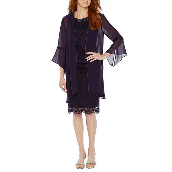 Maya Brooke 3/4 Sleeve Beaded Neckline Jacket Dress