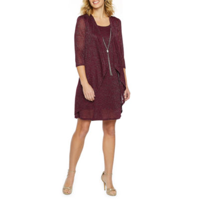 R & M Richards 3/4 Sleeve Jacket Dress with Necklace