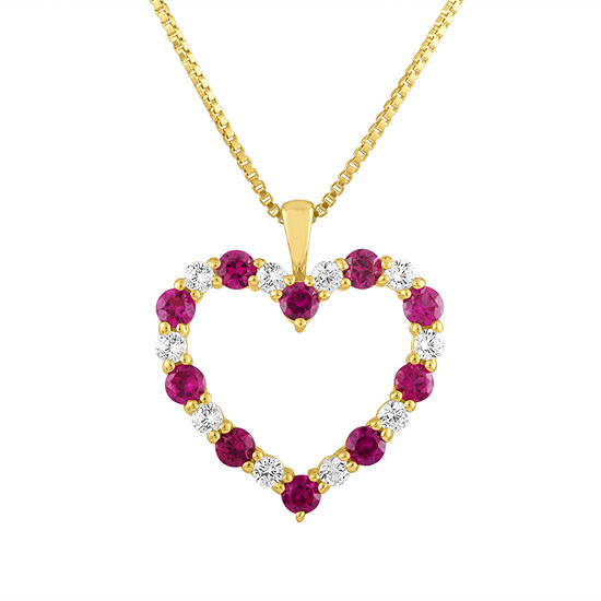 Womens Lab Created Red Ruby 10K Gold Heart Pendant Necklace