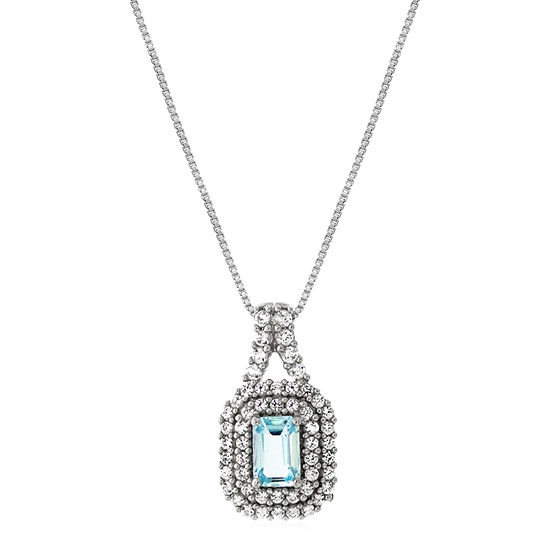 Womens Genuine Blue Aquamarine Sterling Silver Pendant Necklace