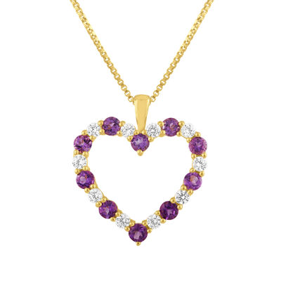 Womens Genuine Purple Amethyst 10K Gold Heart Pendant Necklace