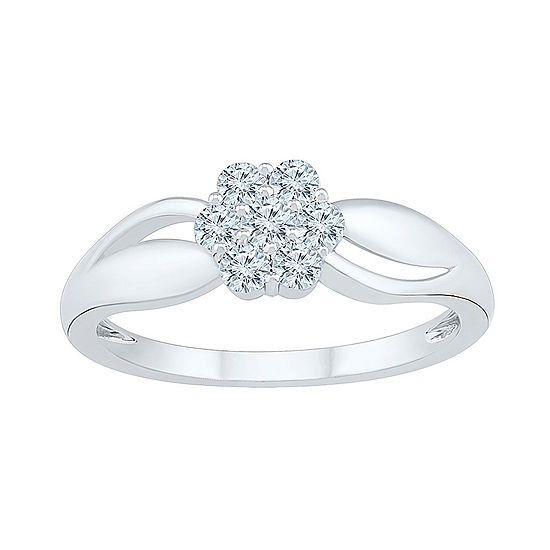 Womens 3/8 CT. T.W. Genuine White Diamond 10K White Gold Cluster Cocktail Ring