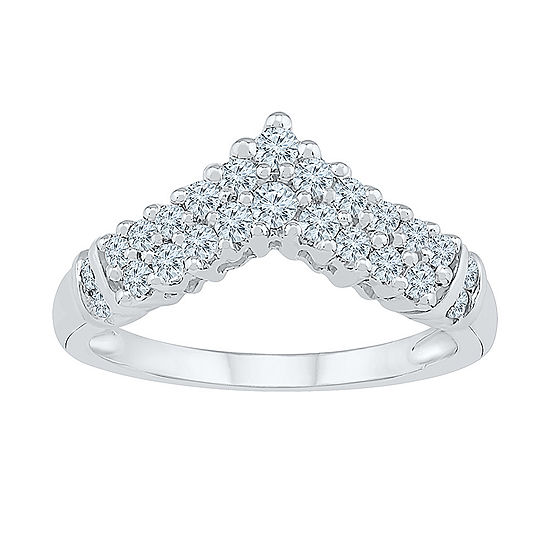 Womens 1/2 CT. T.W. Genuine White Diamond 10K White Gold Cluster Cocktail Ring