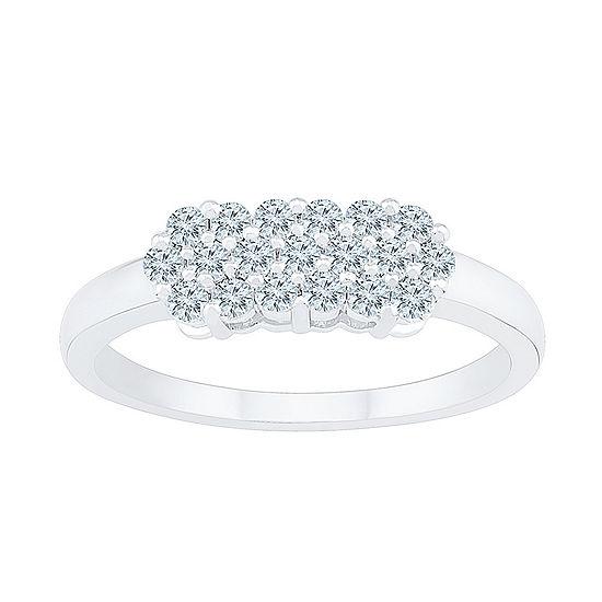 Womens 3/8 CT. T.W. Genuine White Diamond 10K White Gold Cluster Cocktail Ring