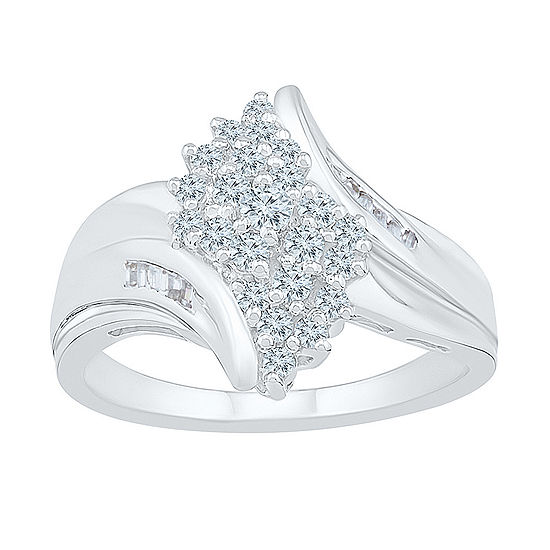 Womens 1/2 CT. T.W. Genuine White Diamond 10K White Gold Cluster Cocktail Ring