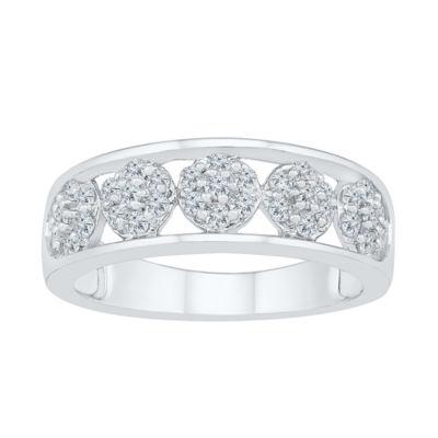Womens 1/2 CT. T.W. Genuine White Diamond 10K White Gold Flower Cluster Cocktail Ring