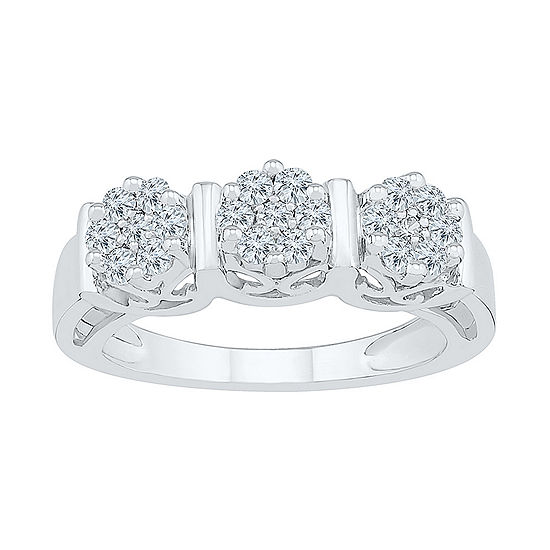Womens 1/2 CT. T.W. Genuine White Diamond 10K White Gold Flower Cluster Cocktail Ring
