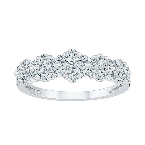 Womens 5/8 CT. T.W. Genuine White Diamond 10K White Gold Flower Cluster Cocktail Ring