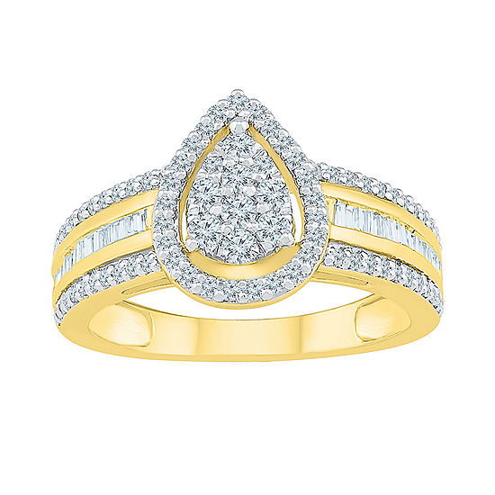 Womens 3/4 CT. T.W. Genuine White Diamond 10K Gold Cluster Cocktail Ring