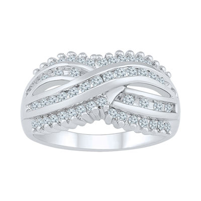 Womens 5/8 CT. T.W. Genuine White Diamond 10K White Gold Cluster Ring