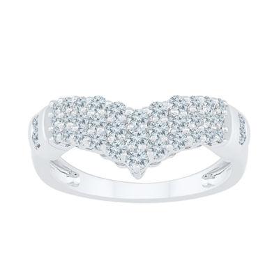 Womens 3/4 CT. T.W. Genuine White Diamond 10K White Gold Cluster Cocktail Ring