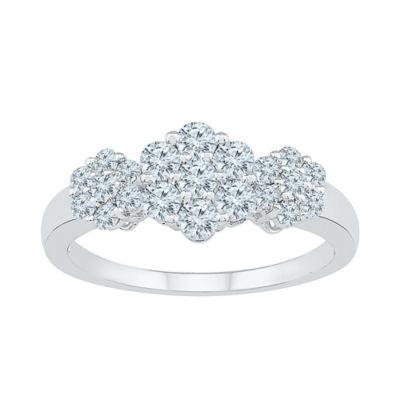 Womens 3/4 CT. T.W. Genuine White Diamond 10K White Gold Flower Cluster Cocktail Ring