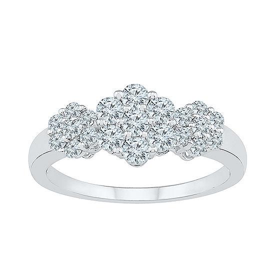 Womens 3 4 Ct Tw Genuine White Diamond 10k White Gold Flower Cluster Cocktail Ring