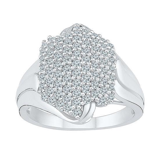 Womens 7/8 CT. T.W. Genuine White Diamond 10K White Gold Cluster Cocktail Ring
