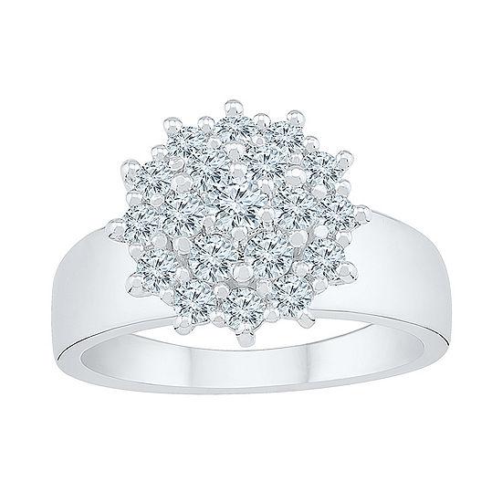 Womens 7/8 CT. T.W. Genuine White Diamond 10K White Gold Flower Cluster Cocktail Ring