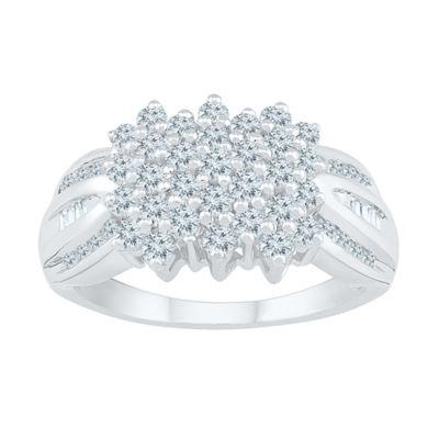 Womens 1 CT. T.W. Genuine White Diamond 10K White Gold Flower Cluster Cocktail Ring